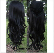 """#1B Natural Black 24"""" Curly Wig 3/4 Half Wig Hair Synthetic Wigs  200g"""