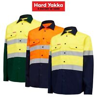 Mens Hard Yakka Core Hi-Vis Safety Cotton Drill Pocket Taped Work Shirt Y04610