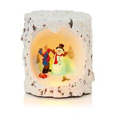 Décoration de Noël LED Arbre Souche avec Hiver Scène - Bonhomme Neige et Garçon