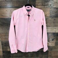 Ralph Lauren Women's Pink Slim Fit Long Sleeve Button Up Shirt Size 8