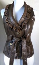 Women's Last Kiss Faux Leather Brown Vest Jacket Ruffle Collar Sz M