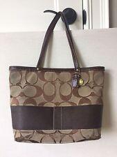 COACH 10124 Used Signature Purse Brown Stripe Reversible Tote Shoulder Bag