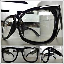 Men's Women CLASSIC VINTAGE RETRO Style Clear Lens EYE GLASSES Large Black Frame