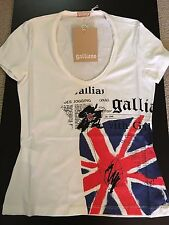 John Galliano Women's T-Shirt Union Jack Newsprint NWT M Made in Italy