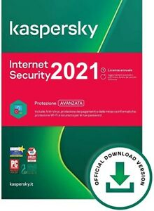KASPERSKY INTERNET SECURITY 2021 LICENZA DIGITALE 1 ANNO CIRCA