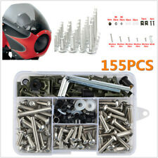 155pcs Motorcycle Shell Fairing Bolt Plate Screws Nut Stainless Steel Thread Set