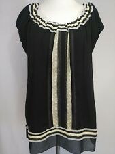 Monroe and Main Women's Top Black Beige Peasant Style Blouse size L New