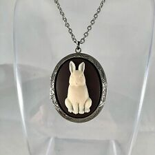 BUNNY RABBIT CAMEO LOCKET NECKLACE Antique Silver SPRING EASTER GIFT Quality