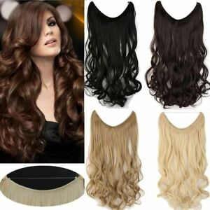 Natural Wavy Invisible Wire No Clips in Hair Extensions Fish Line Hairpieces