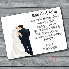 Pack of 10 Personalised Day Or Evening Wedding Invitations  Style 6