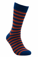 "Men Bamboo Seamless Striped Casual Socks ""Red-Blue Tiger"" by Rambutan Colorful"