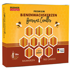 BRUBAKER 10% Beeswax Tree Candles - Pack of 20 - Honey Colored - 3.74""