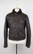 New. RALPH LAUREN BLACK LABEL Brown Waxed Cotton W/ Shearling Fur Jacket L $1995