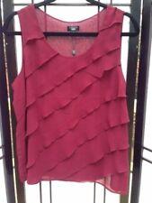 Talbots NWT sleeveless top, diagonal ruffles in front, burgundy, size 12P