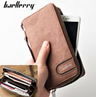 Men's Leather High Capacity Long Clutch Wallet Credit Card Holder Zipper Purse