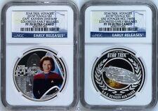 2-Coin Set 2015 P Star Trek Captain Kathryn & U.S.S. Voyager Silver $1 Ngc Pf70