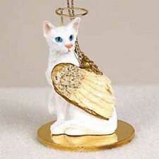 White Oriental Shorthaired Cat Angel Ornament