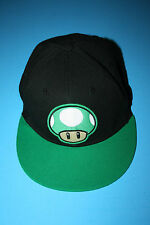 Super Mario 1-Up Mushroom Black & Green Tek Flex Spandex Fit Baseball Cap Hat