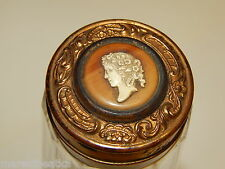ANTIQUE VICTORIAN PANELED GLASS & CAMEO ON LID PERFUME FLASK