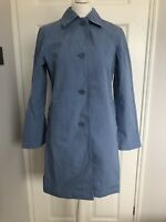 M&S Size 12 Blue Button Up Trench Pea Coat Rain Jacket Collared With Pockets