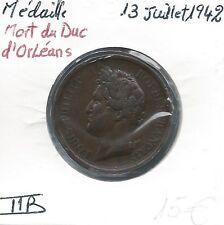 MEDAILLE FRANCAISE - Mort du Duc d'Orléans - 13 Juillet 1942 // Qualité: TTB