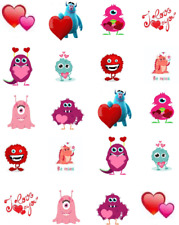 Valentine Monsters Waterslide Nail Decals/Nail art