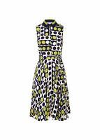 Hobbs Belinda Fit & Flare Dress Navy Chartreuse Size UK10 RRP139