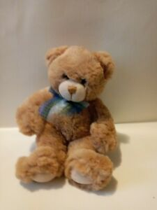 First And Main Light Brown Teddy Bear Plush  With Ribbion Bowtie 9in