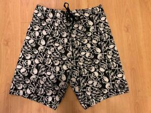 Pacifica, Skull & Bone Size 82 Black & White Board Shorts, Swimwear, *AS NEW*