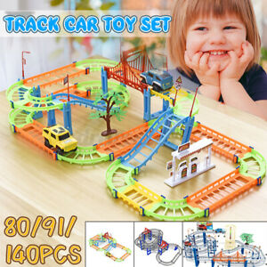 80/91/140 Pcs Multi-layer Rail Car Toy Set DIY Town Track Playset Kids Toy