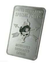 U.S. United States Army Special Forces | Skull | Silver Plated Challenge Bar