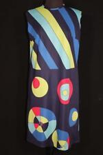 Raro Vintage Francés 600ms-604ms Coloridos Mod Estampado Poliéster Vestido De