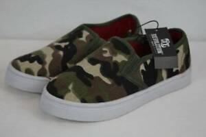 NEW Boys Canvas Loafers Size 3 Camouflage Deck Shoes Slip On Kids Casual School