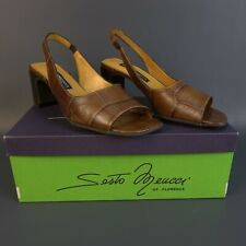 SESTO MEUCCI Brown Open Toe Sling Back Sandals Size 6.5 Made in Italy w/ Box