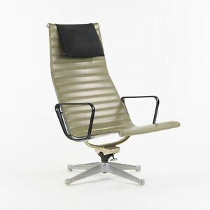 1960s Herman Miller Eames Aluminum Group Lounge Chair Green Naugahyde w/ Pillow