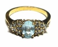 GOLD TONE Oval Cut Blue SAPPHIRE & Clear Stone Cluster Ring, R.5, 3.38g - C27