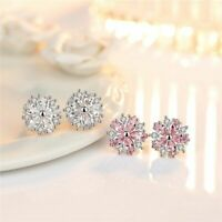 925 Silver Crystal Cherry Blossoms CZ Ear Stud Earrings Jewelry For Women Girl