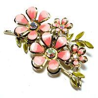 Vintage Signed CORO Pink Enamel AB Rhinestone Flower Spray Brooch Pin
