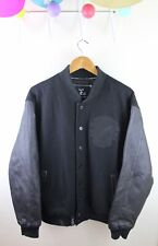 Lifted Research Group LRG Leather Varsity Jacket Wool Bomber Embroidered L Black