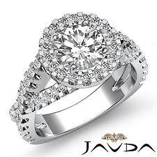 Real Round Diamond Engagement Halo Prong Set Ring GIA F VS2 18k White Gold 2.4ct