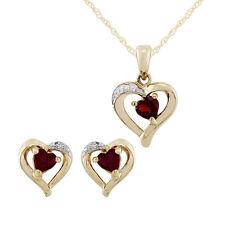 Gemondo 9kt Oro Giallo Granato & Diamante Cuore Orecchini & 45cm Collana Set