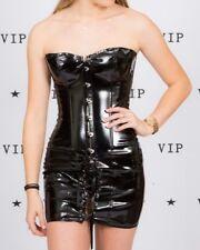 Strapless sexy black patent / vinyl faux pvc corset dress size S exotic dancer