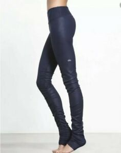 ALO Yoga Leggings Idol Navy Blue Small - NEW Over Heel Dance Sports Workout