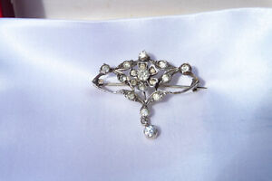 Antique 800 Sterling Silver Art Nouveau Handmade Sparkly Diamante Brooch