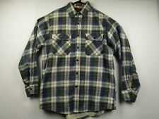 Vintage Mens Fieldmaster L Plaid Long Sleeve Button Front Flannel Shirt USA Made