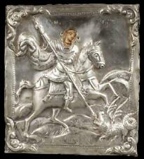Fine Russian Icon of St. George With Silver Oklad, 1858
