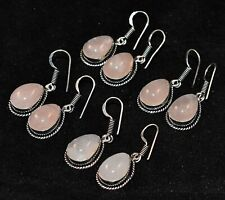 100 Pairs Teardrop Natural Rose Quartz 925 Silver Plated Earrings Wholesale Lot