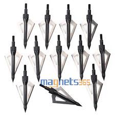 12Pcs Hunting 100 Grain 3 Blade Broad Arrow Heads Arrows Screw Tips