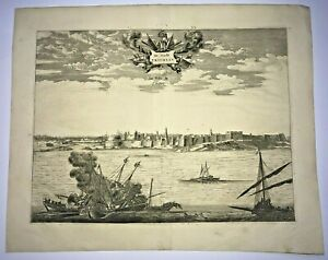 TRIPOLI LYBIA 1677 DAPPER LARGE RARE ANTIQUE ENGRAVED VIEW 17TH CENTURY
