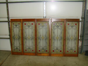 Vintage Faux Stained Glass, Window/Sun Catcher Wood Framed 5 Pieces - 1 Lot